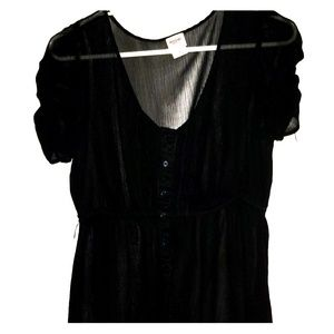 Black sequence button up blouse